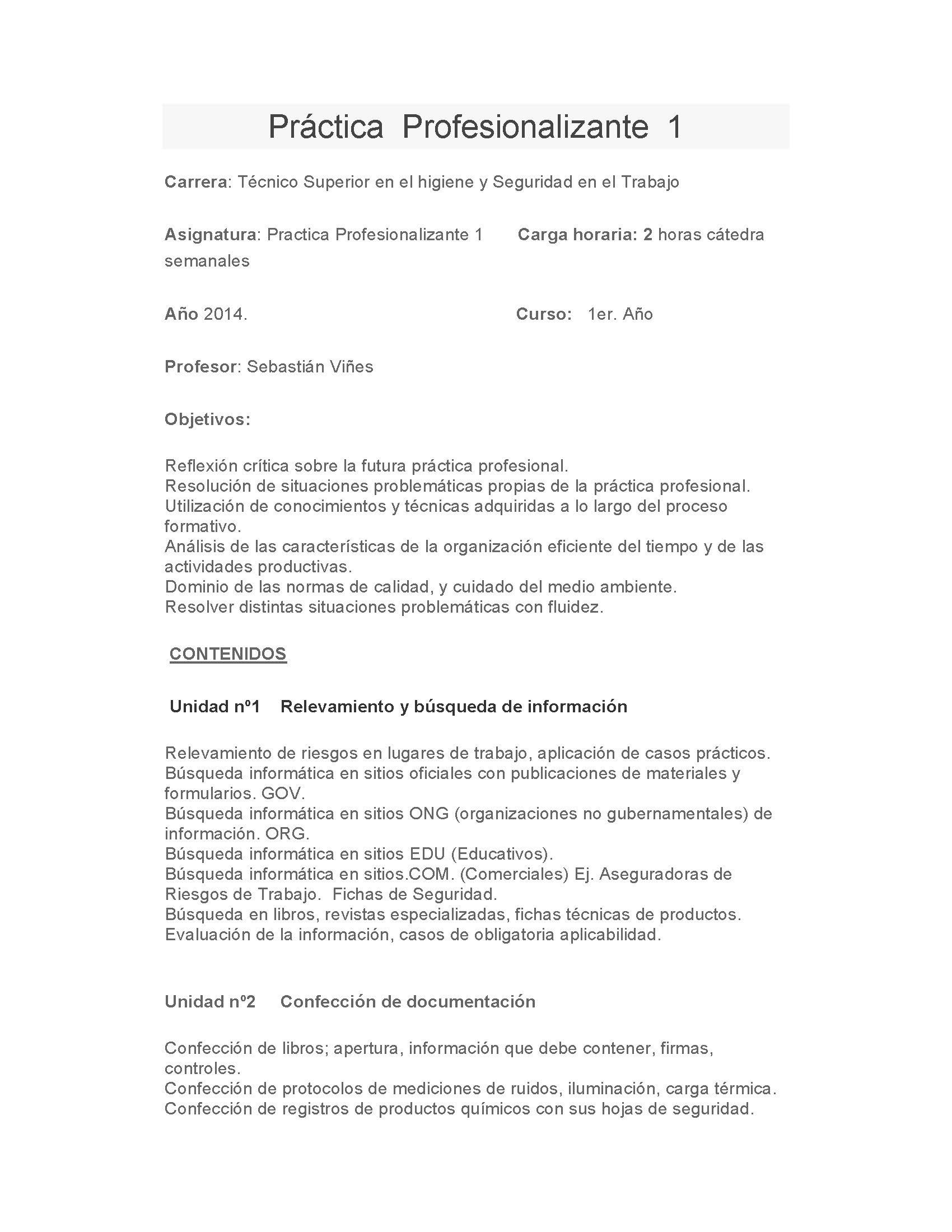 Práctica Profesionalizante – 2014 | isft188