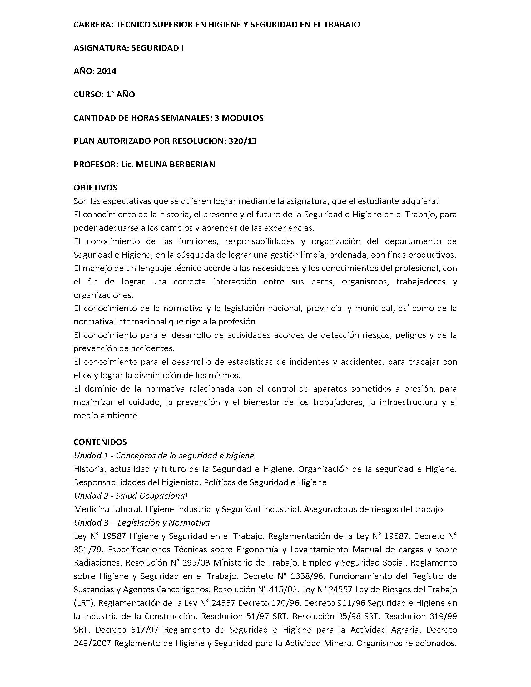 Programa analitico de la asignatura - Seguridad I_Page_1